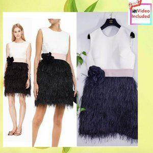 $1,098  NWT Kate Spade Black Cream Feather Dress 8